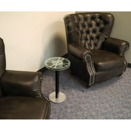 film reel end table between chairs