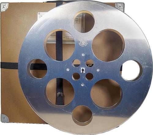 35mm vintage raw- aluminum solid hub film reel with free storage box