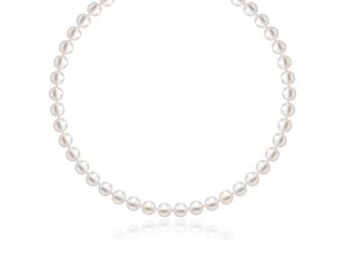 White Freshwater Cultured Pearl Necklace in 14K Yellow Gold