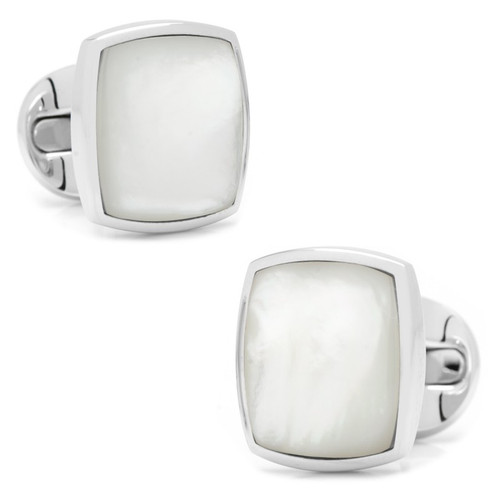 Sterling Silver Classic Cushion Mother of Pearl Cufflinks
