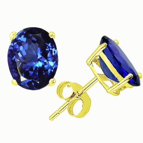 14K Gold Oval Tanzanite Stud Earrings