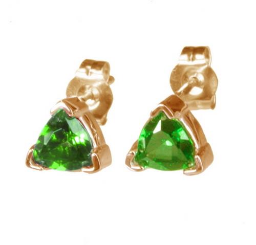 14K Gold Trillion Tsavorite Stud Earrings