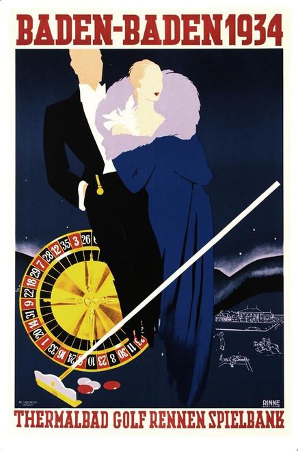 Baden Baden 1934 Poster Fine Art Lithograph