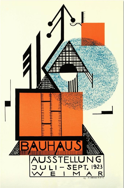 Bauhaus Blue Circle Lithograph