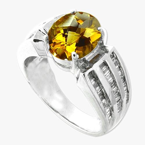 14K White Gold Citrine Baguette Diamond Ring
