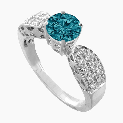 18K White Gold Blue Diamond Ring