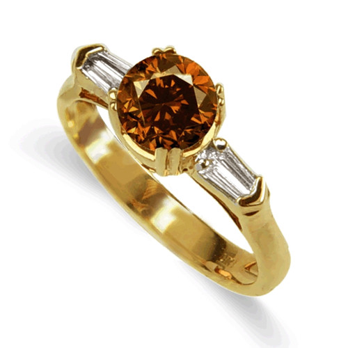 18K Yellow or White Gold Cognac Diamond Ring