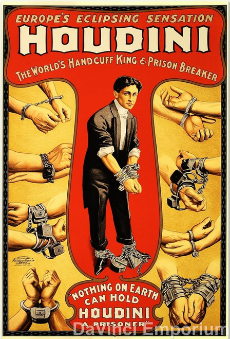 Houdini The World's Handcuff King Lithograph