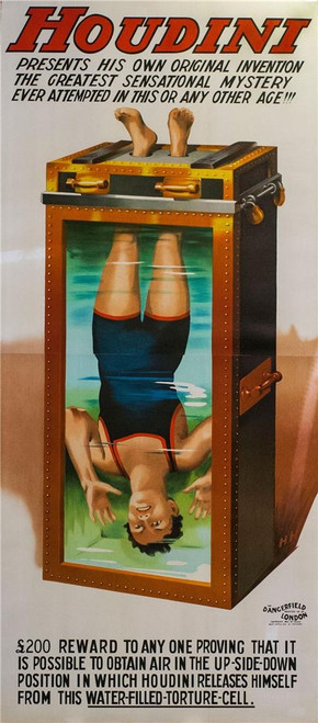 Houdini Water Torture Cell 2 Sheet Lithograph