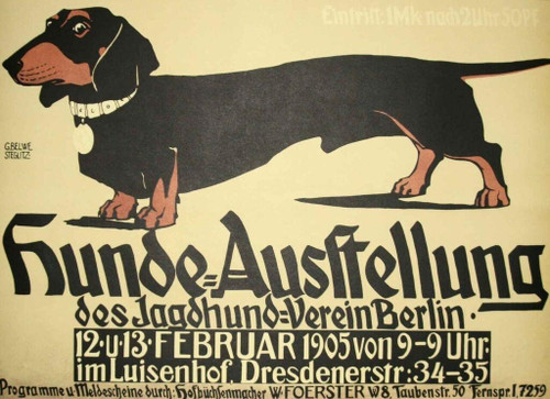 Hunde Ausstellung Dachshund Lithograph