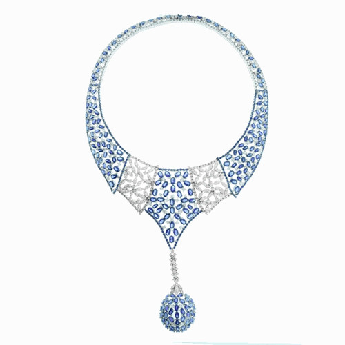 18K White Gold Diamond and Blue Sapphire Necklace