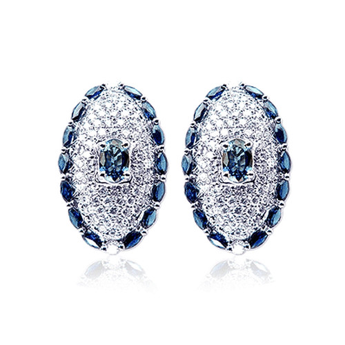 18K White Gold Diamond and Sapphire Stud Earrings