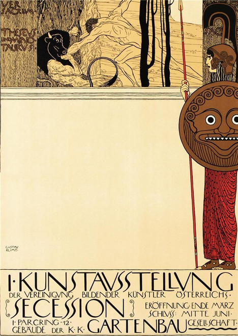 Gustav Klimt Poster for the First Secession Exhibition Poster Fine Art Lithograph