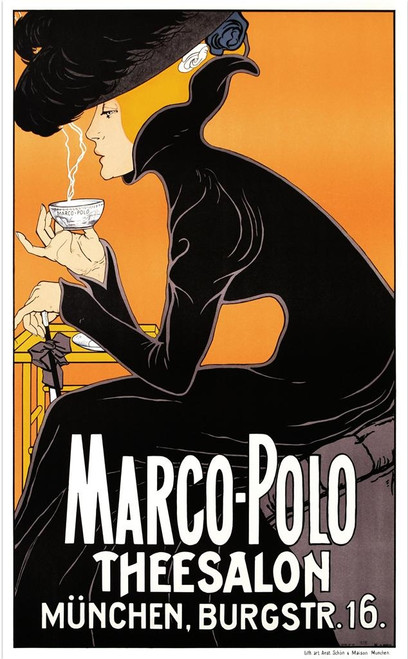 Marco Polo Thee Salon Poster Fine Art Lithograph