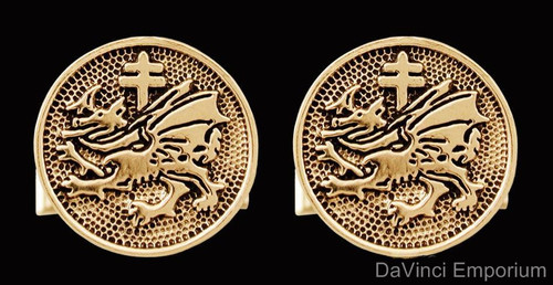 14K Yellow Gold Order of the Dragon Cufflinks