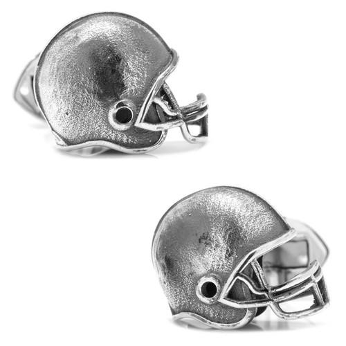 Sterling Silver Football Helmet Cufflinks