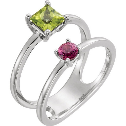 Sterling Silver Peridot and Pink Tourmaline Two Stone Ring