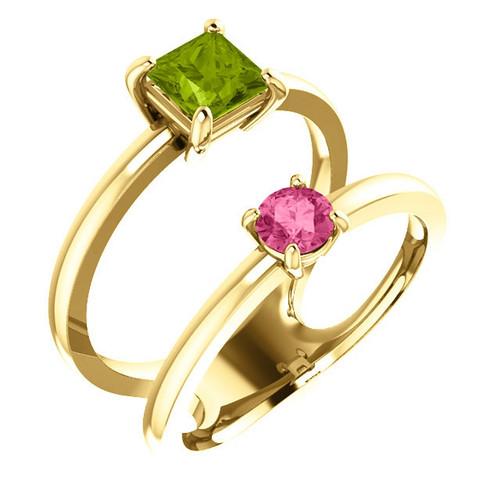 14K Gold Peridot and Pink Tourmaline Two Stone Ring