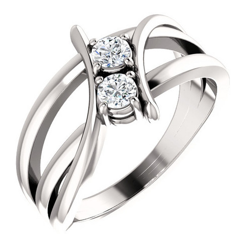 Platinum 1 Carat Diamond Two Stone Solitaire Ring