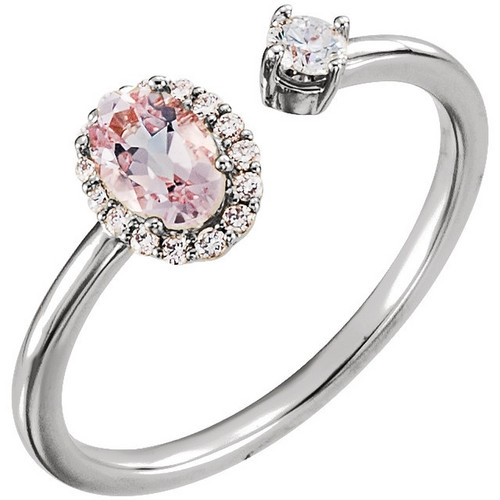 Platinum Morganite and Diamond Halo Open Ring
