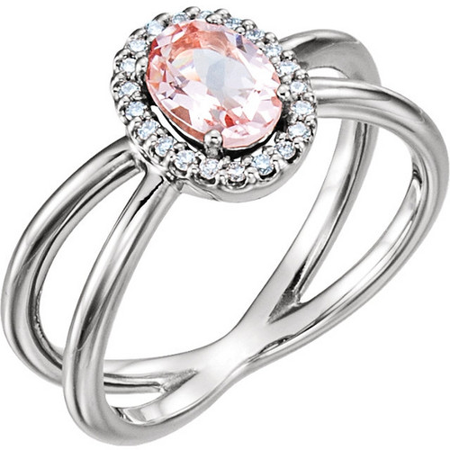 Platinum Morganite and Diamond Halo Double Band Ring