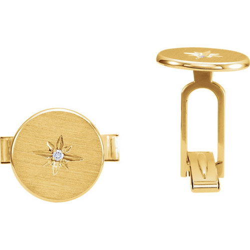 14K Gold Diamond Starburst Cuffllnks