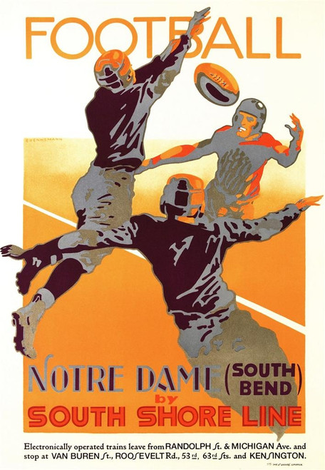 Football Notre Dame by South Shore Line Poster Fine Art Lithograph