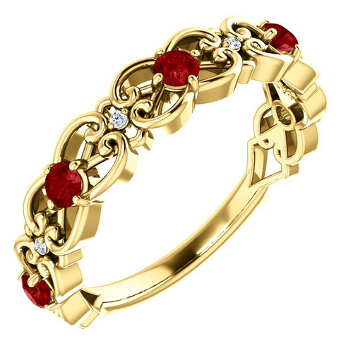 14K Gold Ruby and Diamond Stackable Vintage Scroll Ring