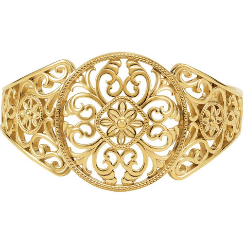 14K Gold Filigree Cuff Bracelet