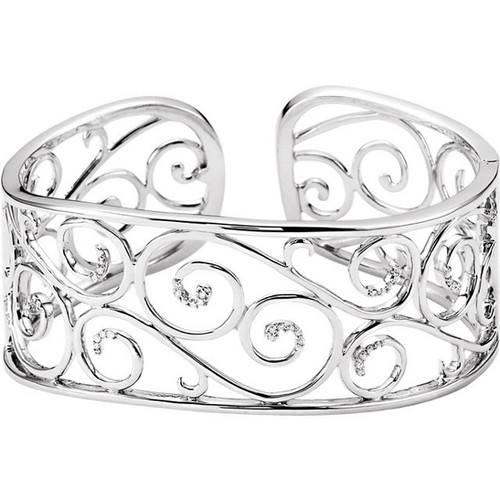 Sterling Silver Filigree Diamond Scroll Cuff Bracelet
