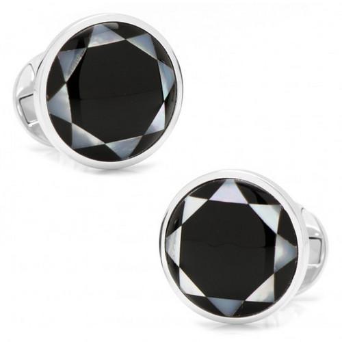 Sterling Silver Onyx Mosaic Cufflinks