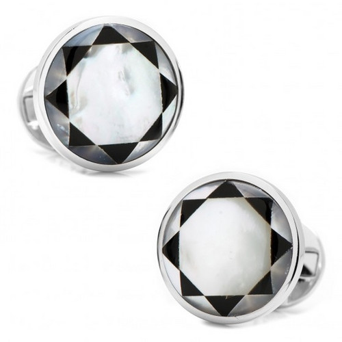 Sterling Silver Mother of Pearl Mosaic Cufflinkis