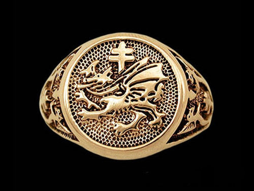 Order of the Dragon Signet Ring in 14k Yellow or White Gold