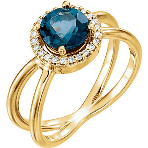 14K Gold London Blue Topaz and Diamond Halo Open Ring