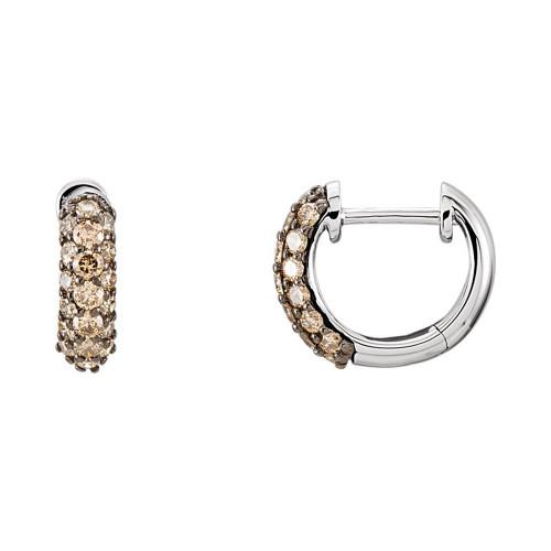 14K White Gold Pave Brown Diamond Hoop Earrings