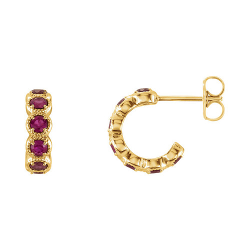 2.55 MM Ruby Hoop Earrings in 14k Gold