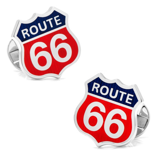 Sterling Silver Route 66 Cufflinks