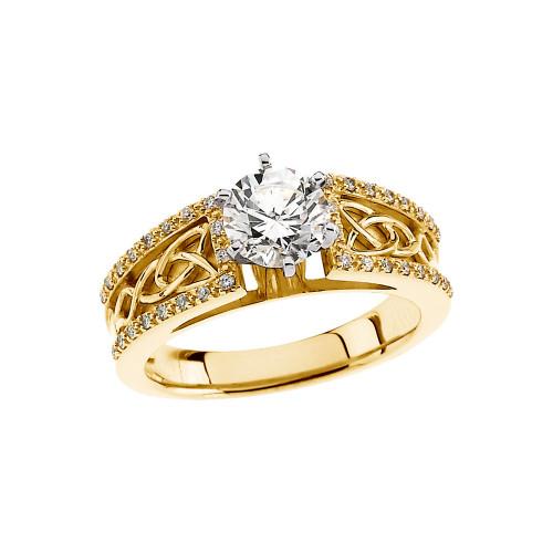 14K Yellow Gold Celtic Knot 1 1/4  Carat Diamond Engagement Ring