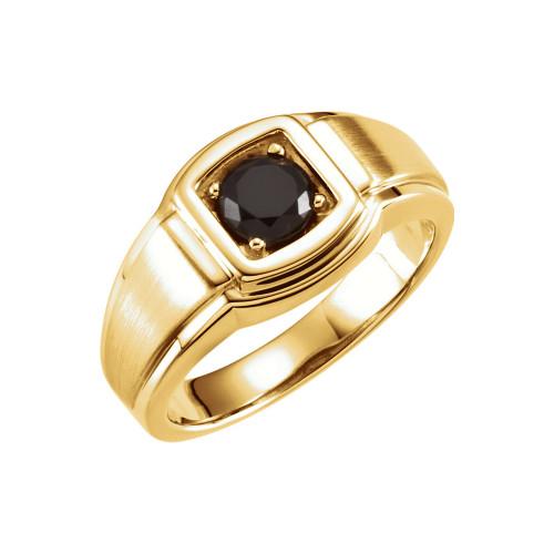14K Yellow Gold Black Onyx Men's Ring