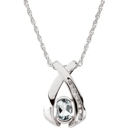 14K White Gold Oval Aquamarine and Diamond Freeform Necklace