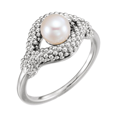 Freshwater Cultured Pearl Beaded Ring in Platinum