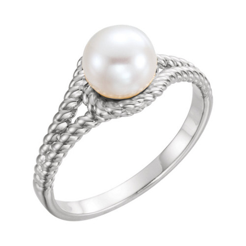 Platinum White Freshwater Cultured Pearl Rope Ring