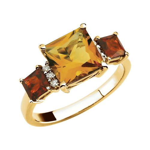 Citrine and Diamond Ring 14K Yellow Gold