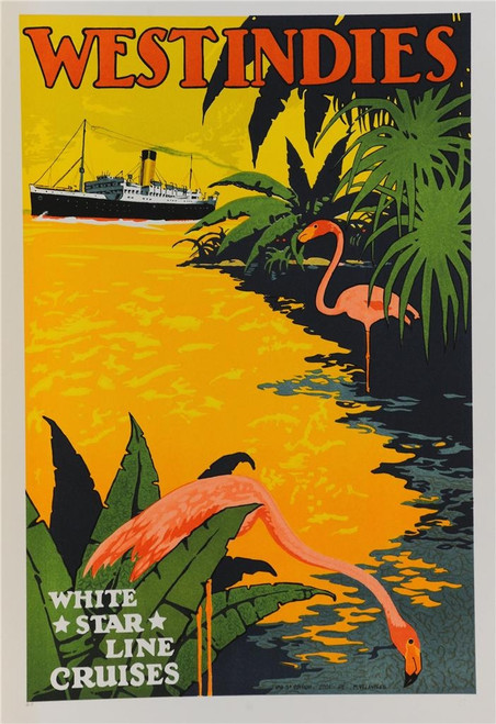 West Indies White Star Line Cruises Poster Fine Art Lithograph