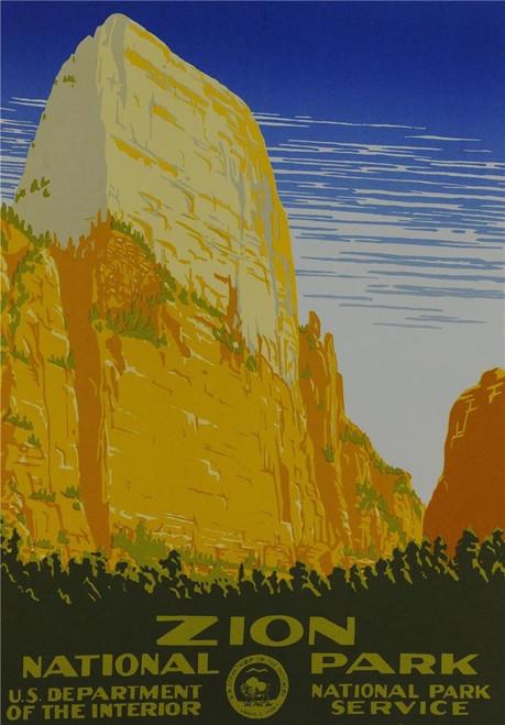 Zion National Park Poster Fine Art Lithograph