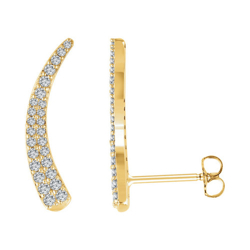 Pave Diamond Ear Climbers in 14K Gold
