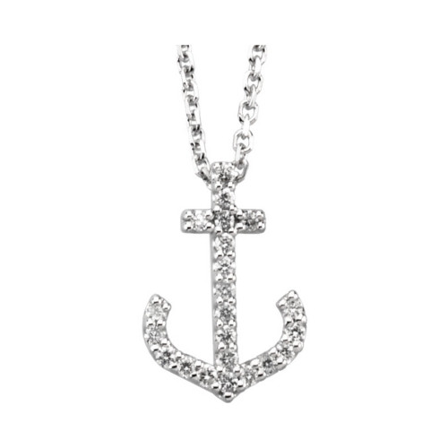 1/8 CTW Diamond Anchor Necklace in 14k Gold