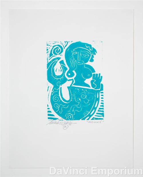 Mermaid Linocut Print by Mark T. Smith