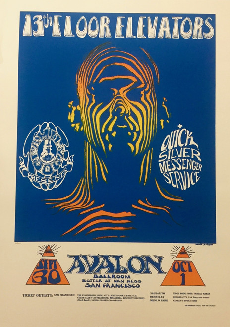 Zebra Man 13th Floor Elevators  Lithograph by Stanley Mouse and Alton Kelley