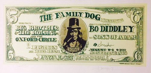 The Family Dog Dollar Bill Lithograph by Stanley Mouse and Alton Kelley